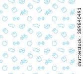 fitness pattern  seamless... | Shutterstock .eps vector #389840491