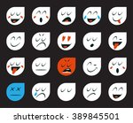 set of emoticons or emoji.... | Shutterstock .eps vector #389845501