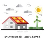 ecology power concept. new... | Shutterstock .eps vector #389853955