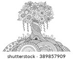 Abstract tree on the hill line art design for coloring book