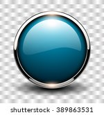 blue shiny button with metallic ... | Shutterstock .eps vector #389863531