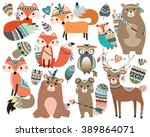 woodland tribal forest animals... | Shutterstock .eps vector #389864071