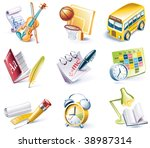 vector cartoon style icon set.... | Shutterstock .eps vector #38987314