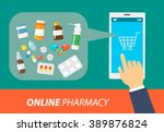 online pharmacy in the flat... | Shutterstock .eps vector #389876824