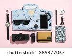 overhead view of men's casual... | Shutterstock . vector #389877067