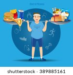 fat people must have fight to... | Shutterstock .eps vector #389885161