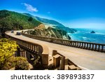 bixby creek bridge on highway ... | Shutterstock . vector #389893837