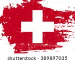 swiss scratched flag. a swiss... | Shutterstock .eps vector #389897035