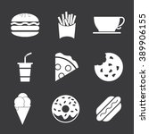 fast food icon set | Shutterstock .eps vector #389906155