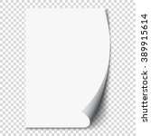 new white page curl on blank... | Shutterstock .eps vector #389915614