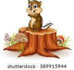 Cartoon Chipmunk Sitting On...