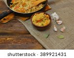 vintage clay bowl with... | Shutterstock . vector #389921431