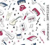 music symbols.vector seamless... | Shutterstock .eps vector #389922181