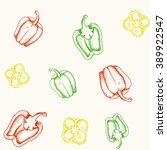 pattern of bell pepper | Shutterstock .eps vector #389922547
