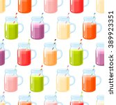 smoothies variety seamless... | Shutterstock .eps vector #389923351