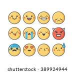 set of vector emoticons in...   Shutterstock .eps vector #389924944