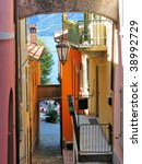 Narrow street of Varenna town at the lake Como, Italy - stock photo