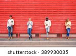group of multiracial fashion... | Shutterstock . vector #389930035