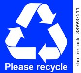 Blue Recycle Icon With Text...