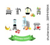 set of kitchen electronic tools.... | Shutterstock .eps vector #389949844