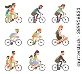 cyclists riding bike set... | Shutterstock .eps vector #389956831