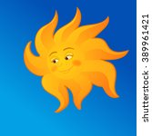 vector sun with smile face | Shutterstock .eps vector #389961421