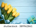 mothers day background. tulips...   Shutterstock . vector #389962861