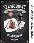 steak menu chalkboard design... | Shutterstock .eps vector #389965849
