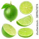 Isolated Limes. Whole Lime...