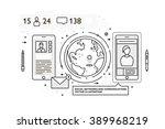 flat style  thin line art... | Shutterstock .eps vector #389968219