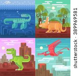 dinosaurs set. vector flat...   Shutterstock .eps vector #389969581