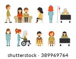 medical staff flat  isolated on ... | Shutterstock .eps vector #389969764