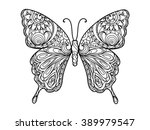 butterfly coloring book for... | Shutterstock .eps vector #389979547