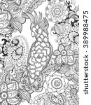 cockatoo in fantasy flowers.... | Shutterstock .eps vector #389988475