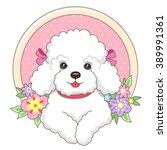 little white lapdog in a frame... | Shutterstock .eps vector #389991361