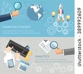 analytics and marketing banners ... | Shutterstock .eps vector #389992609