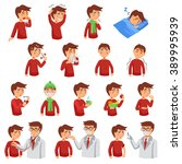flu illness cartoon icons with... | Shutterstock .eps vector #389995939