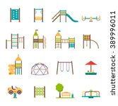 playground flat icons set with... | Shutterstock .eps vector #389996011