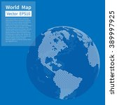 dotted world map background.... | Shutterstock .eps vector #389997925