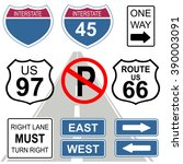 set of road and highway signs.... | Shutterstock .eps vector #390003091