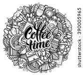 coffee round design in outline... | Shutterstock .eps vector #390005965