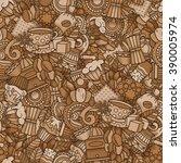 coffee seamless pattern in... | Shutterstock .eps vector #390005974