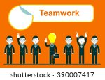 flat design for team work... | Shutterstock . vector #390007417