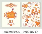 sea adventure. set of cards... | Shutterstock .eps vector #390010717