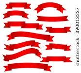 vector set of red ribbons | Shutterstock .eps vector #390013237