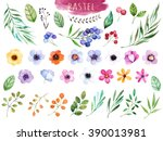colorful floral collection with ... | Shutterstock . vector #390013981