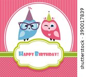 Birthday Card With Two Owls