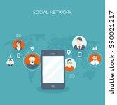 communication chatting.flat... | Shutterstock .eps vector #390021217
