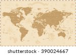 old vintage retro world map    | Shutterstock .eps vector #390024667