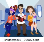 passengers of the airplane.... | Shutterstock .eps vector #390025285